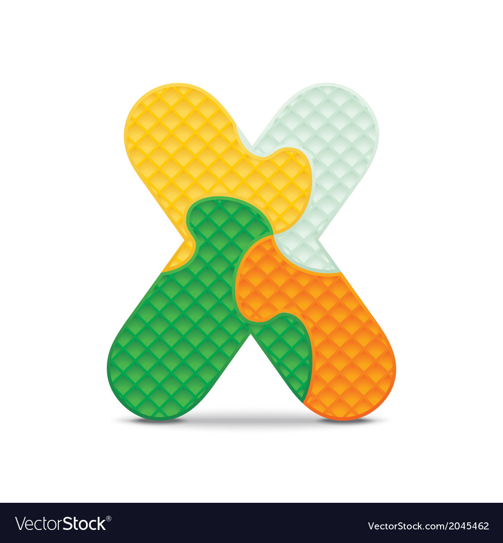 Letter x written with alphabet puzzle vector | Price: 1 Credit (USD $1)