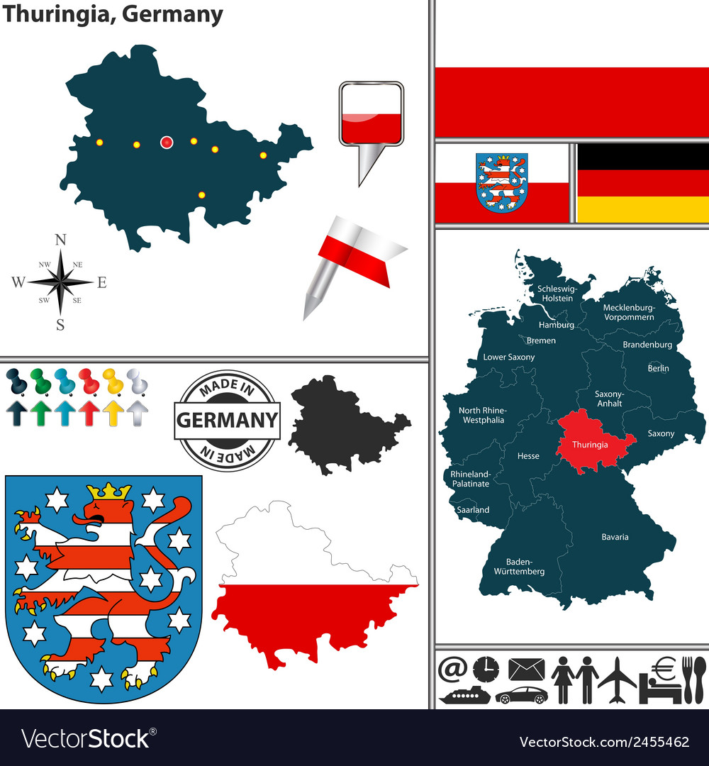 Map of thuringia vector | Price: 1 Credit (USD $1)
