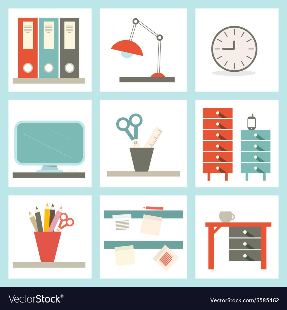 Office supply flat design vector | Price: 1 Credit (USD $1)