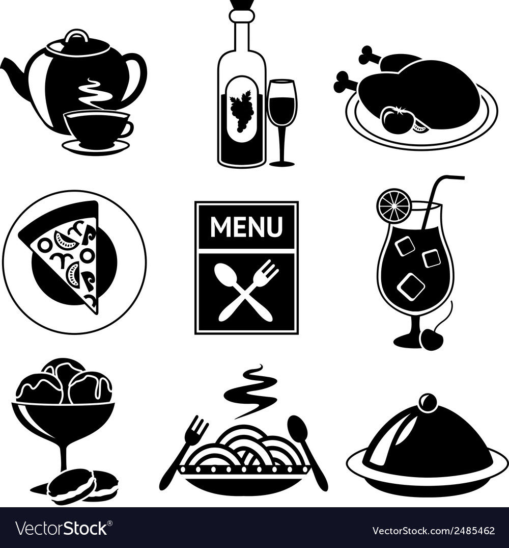 Restaurant food icons black and white vector | Price: 1 Credit (USD $1)
