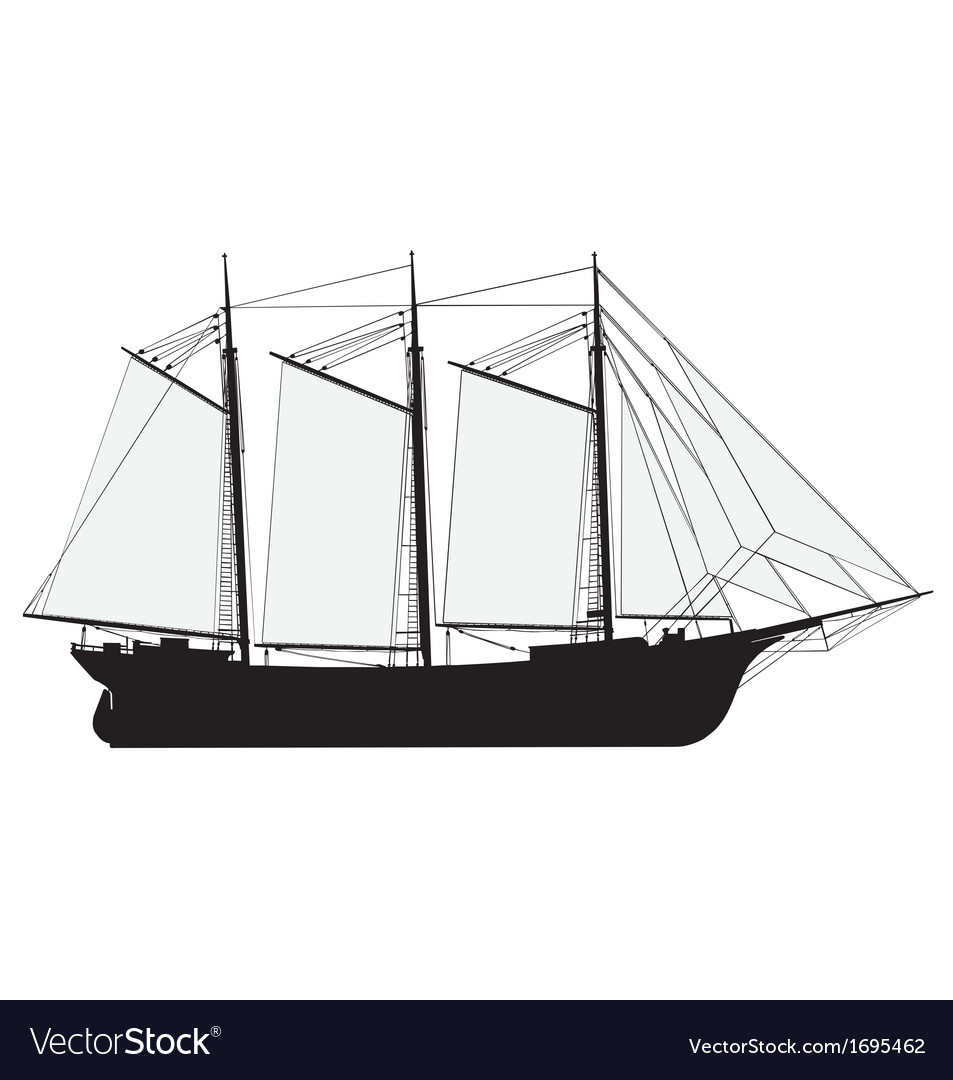 Sailing ship silhouette vector | Price: 1 Credit (USD $1)