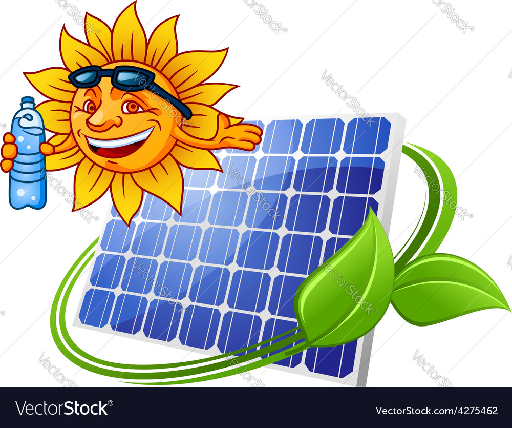 Solar panel with sun in cartoon style vector | Price: 1 Credit (USD $1)