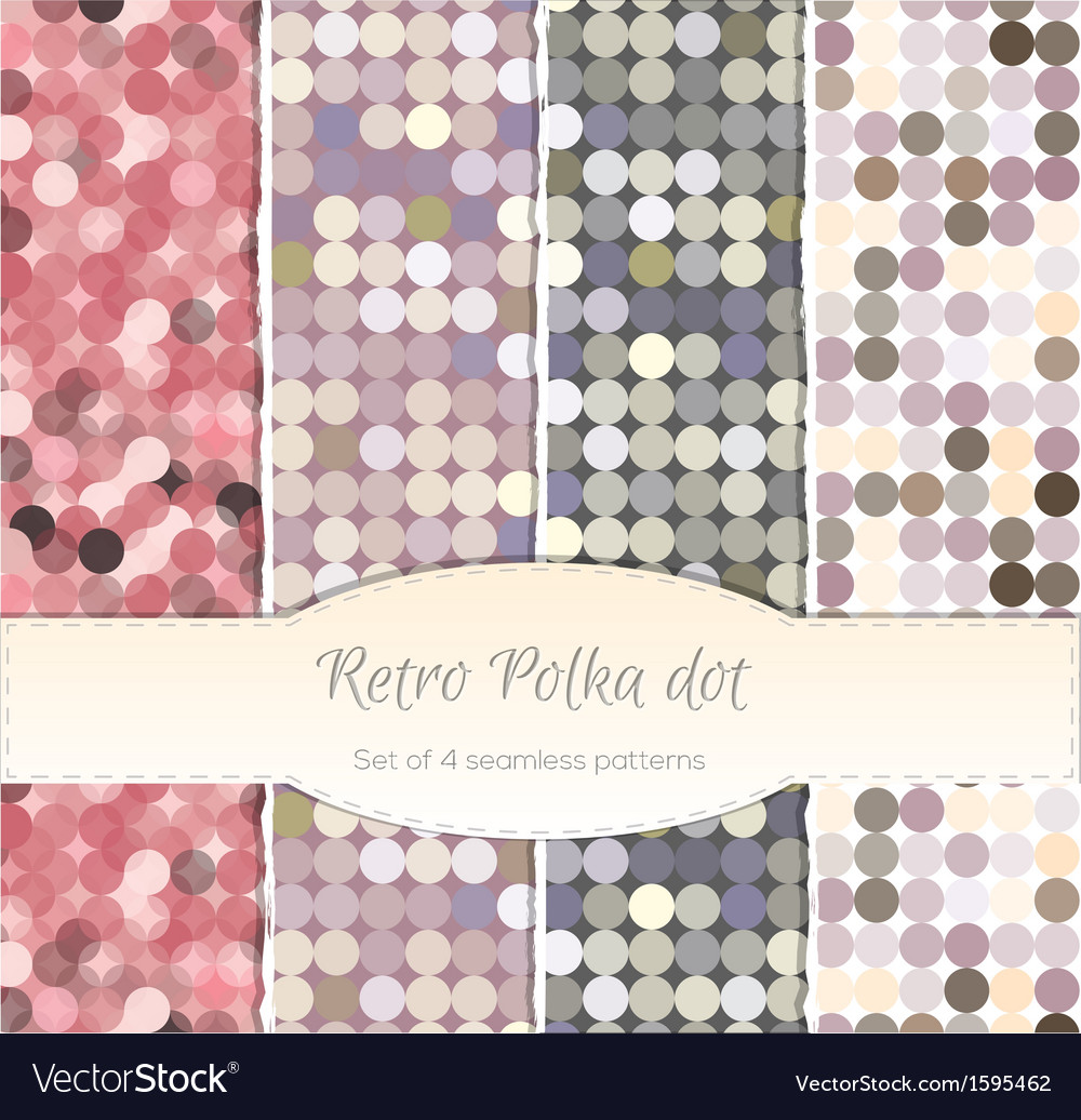 Vintage polka dot seamless patterns set of four vector | Price: 1 Credit (USD $1)