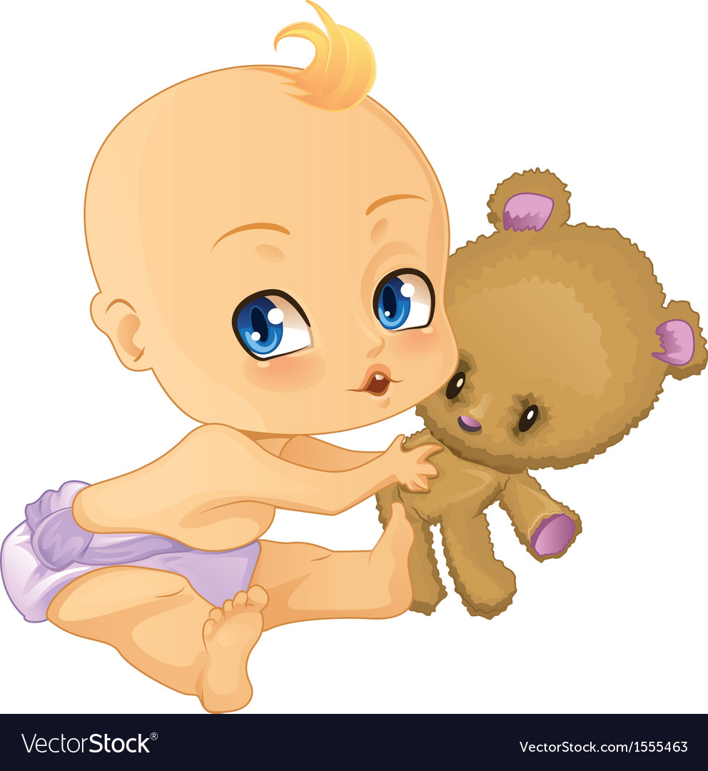Baby boy playing with teddy bear vector | Price: 3 Credit (USD $3)