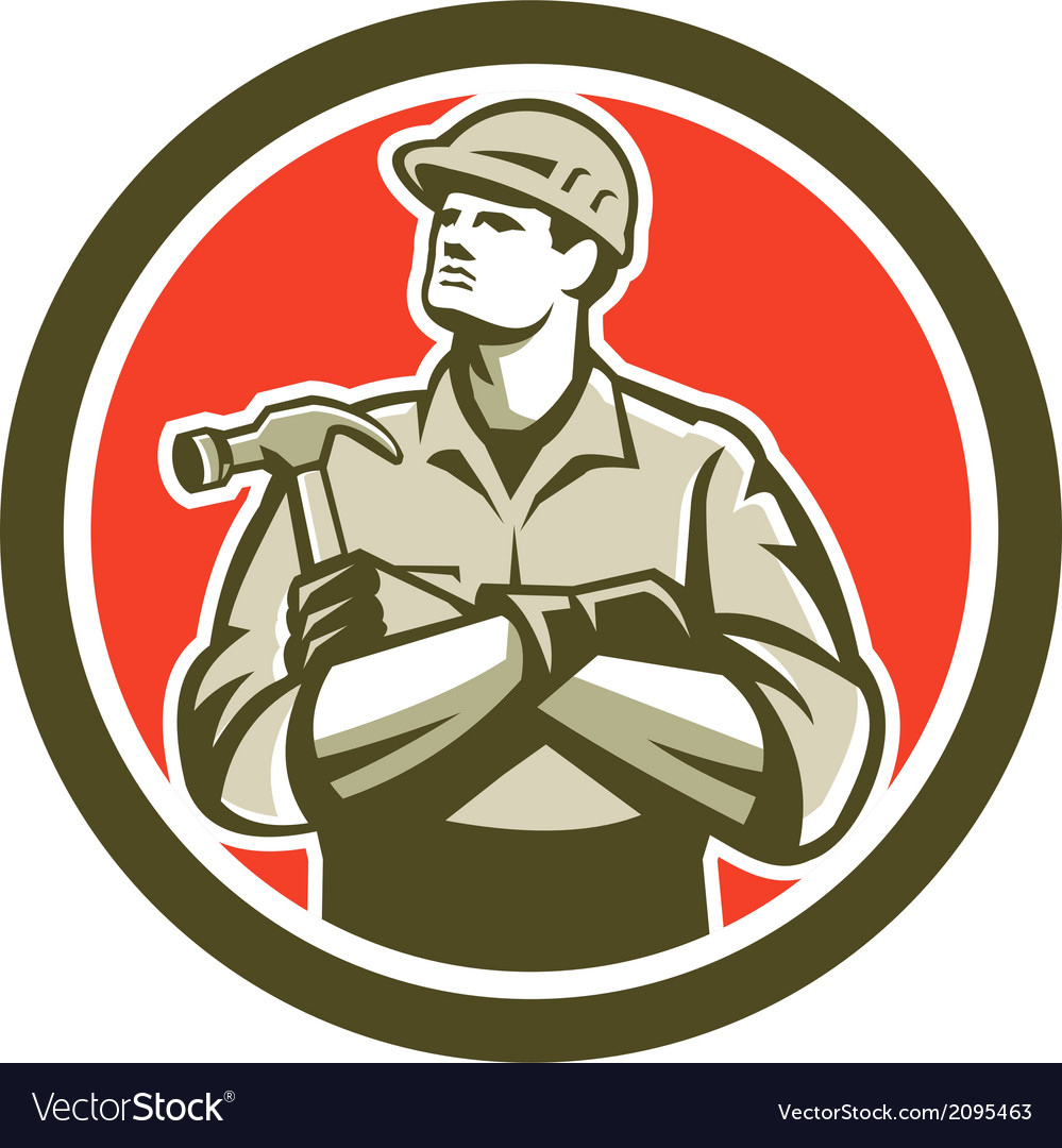 Builder carpenter arms crossed hammer circle retro vector | Price: 1 Credit (USD $1)