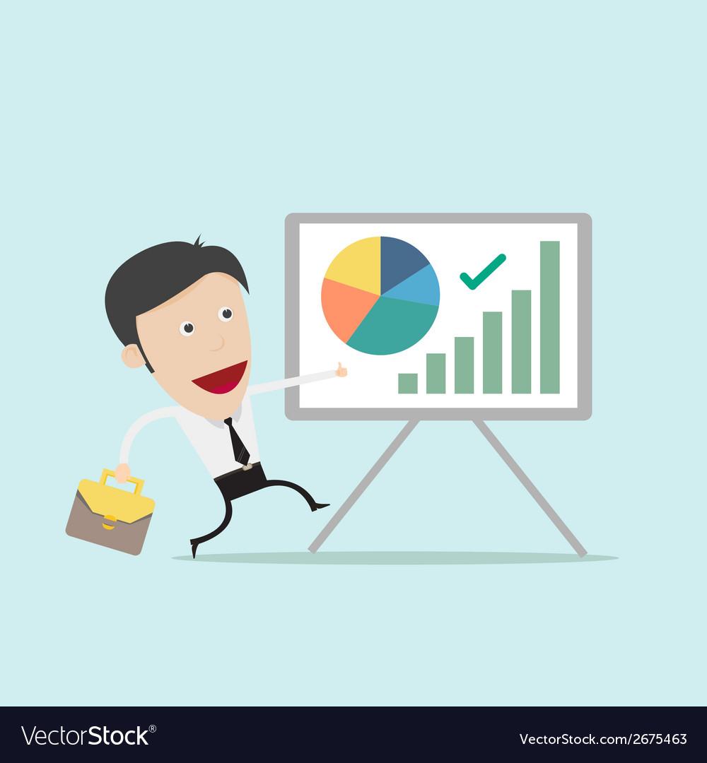 Businessman present pie graph vector | Price: 1 Credit (USD $1)