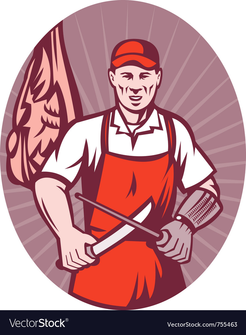 Butcher sharpening knife retro style vector | Price: 1 Credit (USD $1)