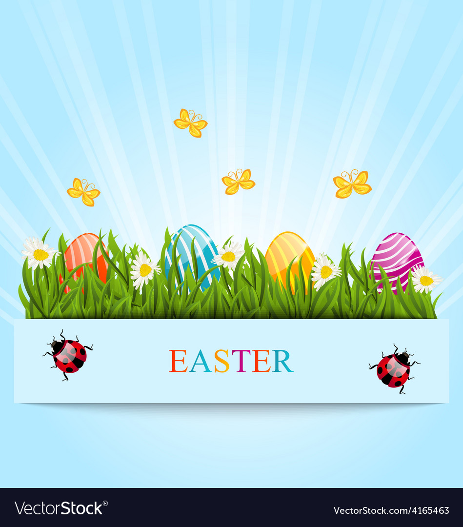 Greeting card with easter colorful eggs and vector | Price: 1 Credit (USD $1)