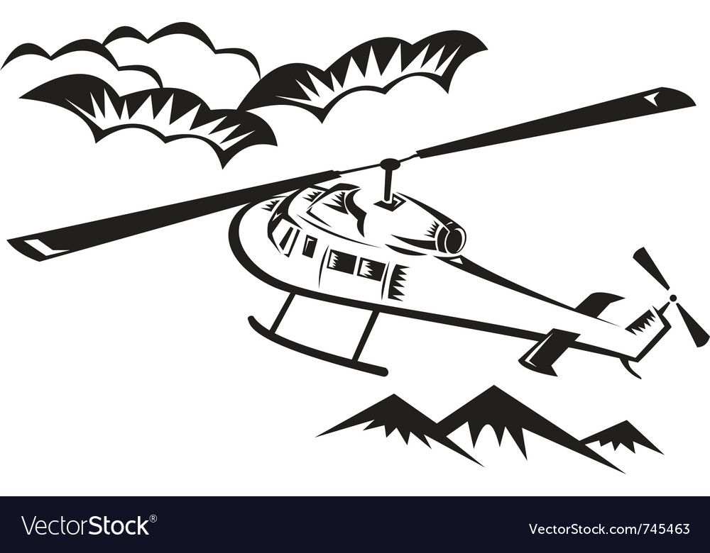 Helicopter chopper flying vector | Price: 1 Credit (USD $1)