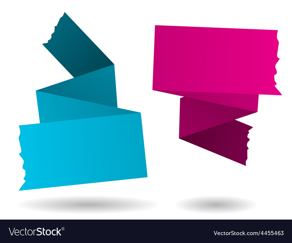 Origami banner-pink and blue vector | Price: 1 Credit (USD $1)