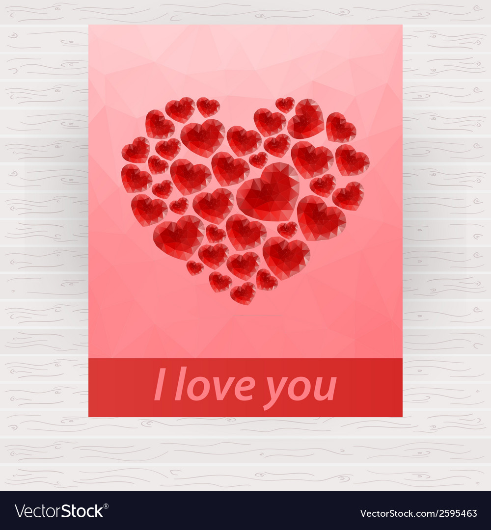 Red bright polygonal heart design for card vector | Price: 1 Credit (USD $1)
