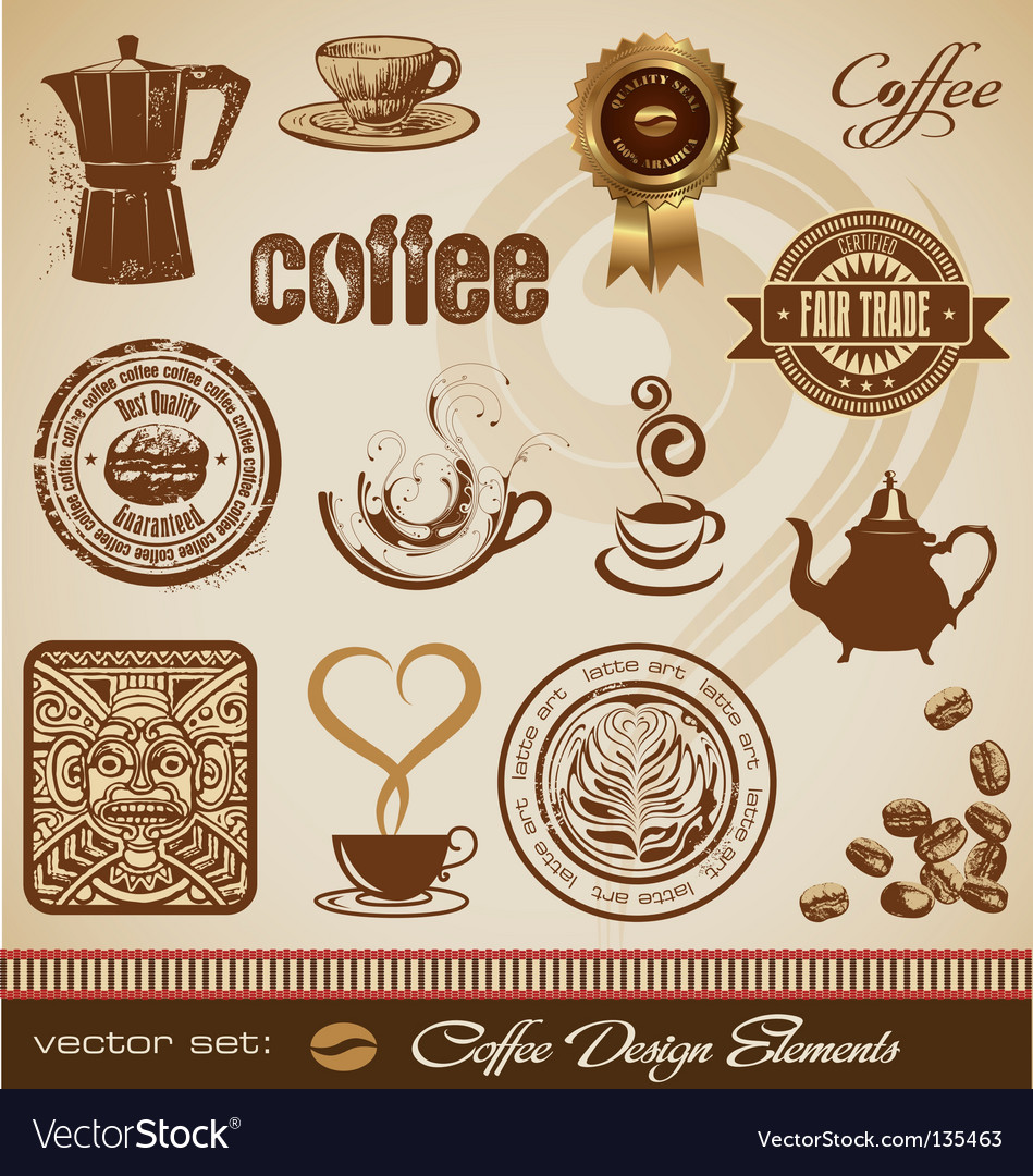 Set coffee design elements vector | Price: 3 Credit (USD $3)