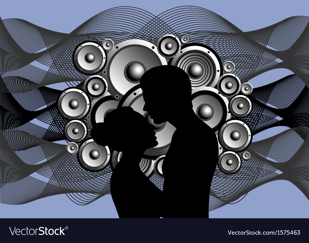 Silhouette of boy and girl on abstract music vector | Price: 1 Credit (USD $1)