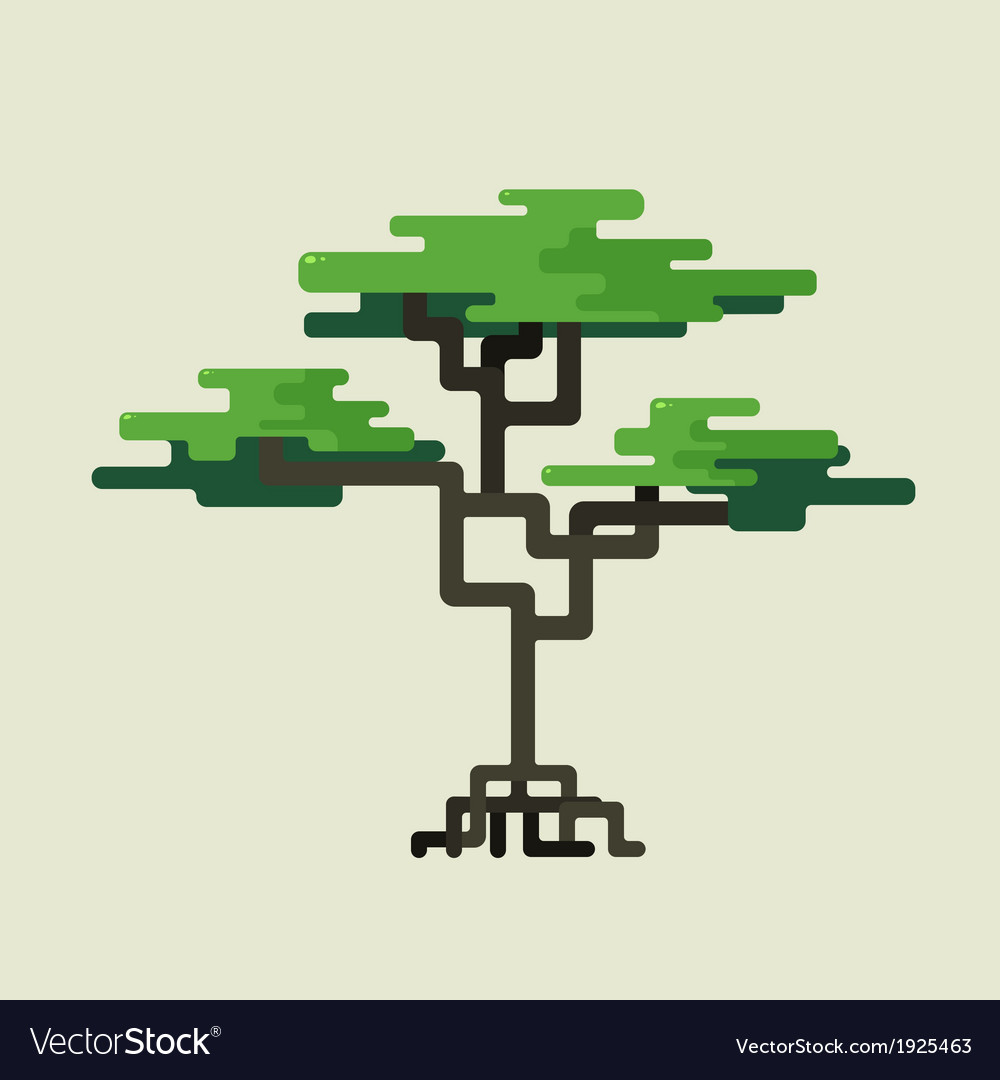 Stylized geometric design of green trees vector | Price: 1 Credit (USD $1)