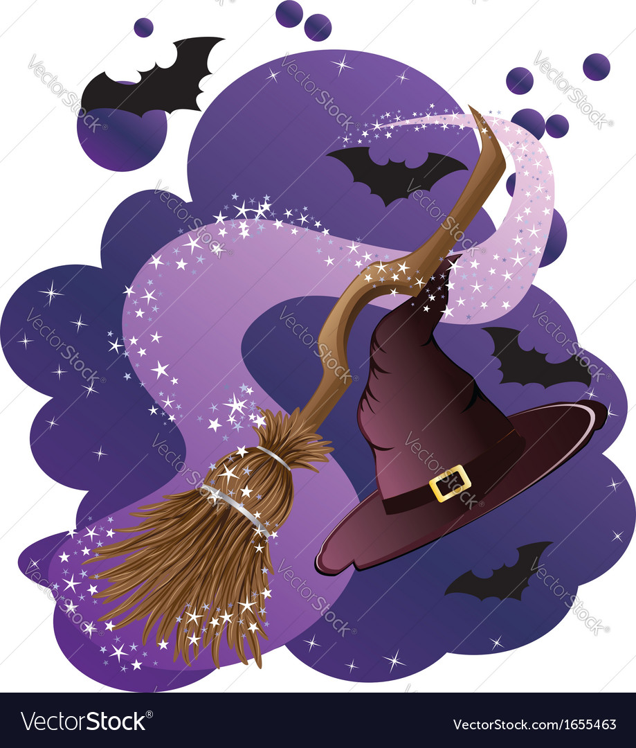 Witch broom and hat vector | Price: 1 Credit (USD $1)
