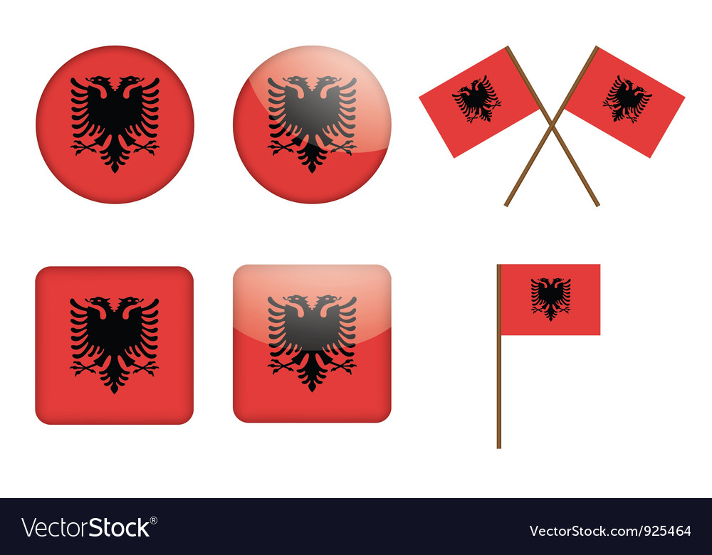 Badges with flag of albania vector | Price: 1 Credit (USD $1)