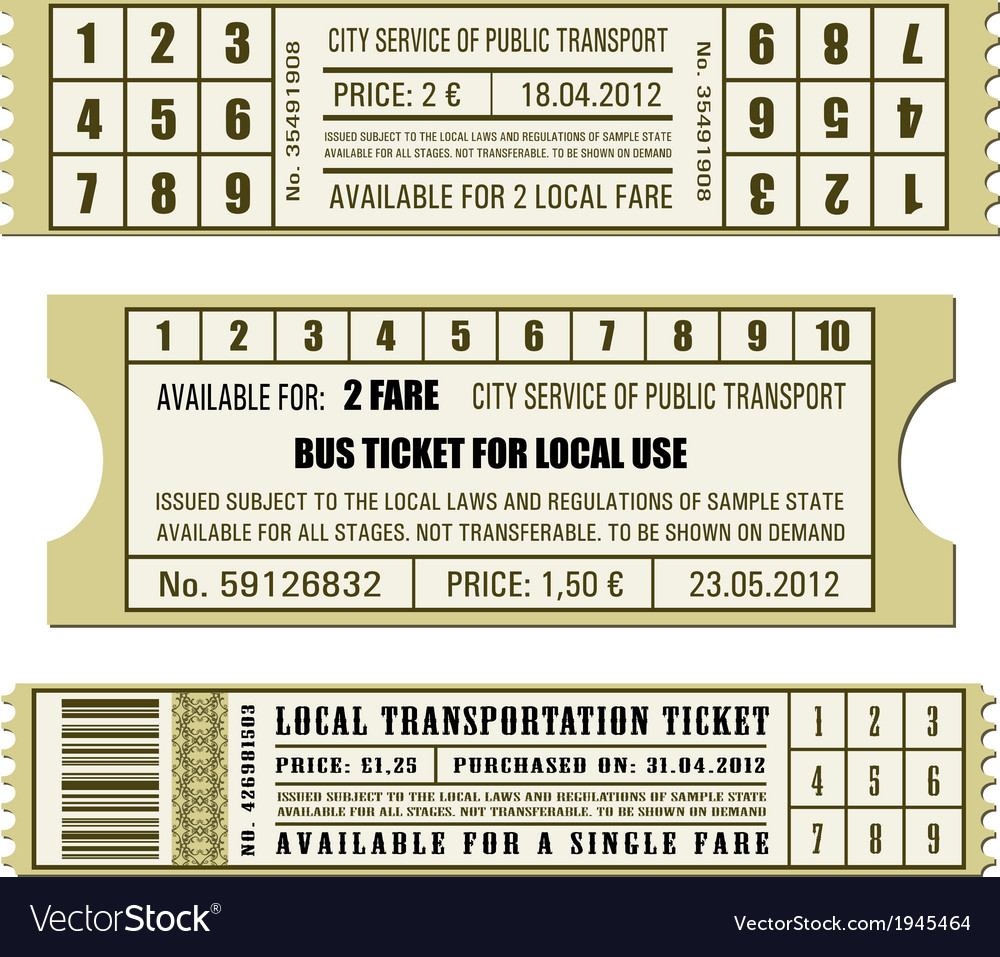 Bus ticket set vector | Price: 1 Credit (USD $1)