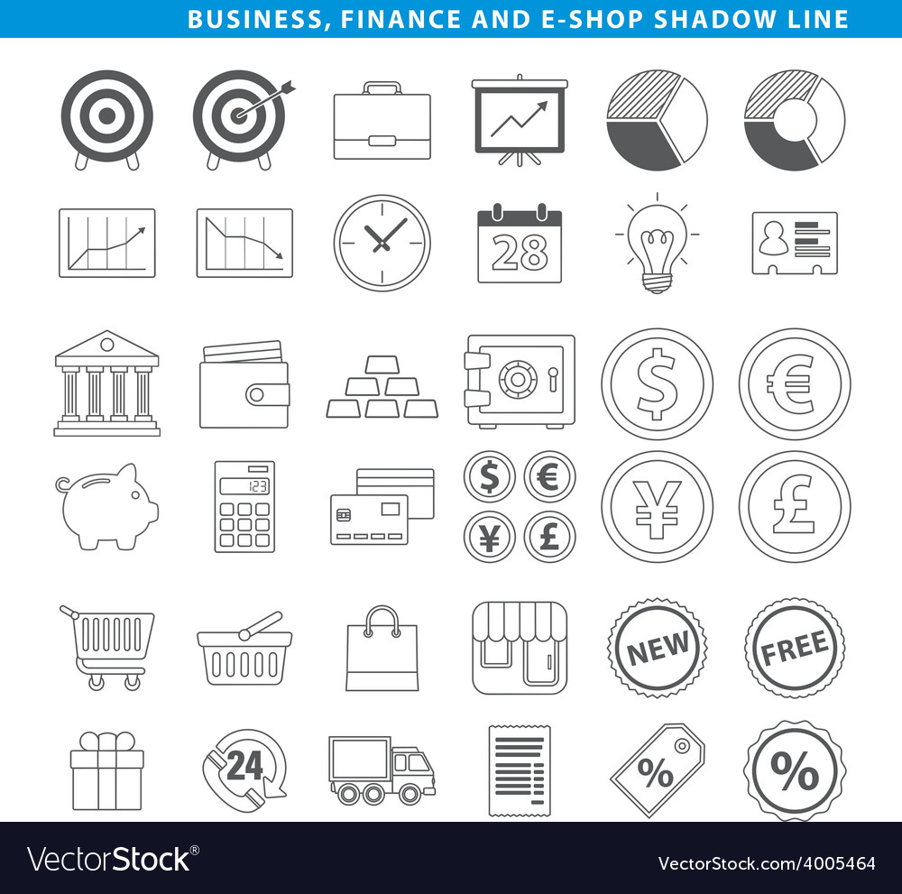 Business finance e shop line vector | Price: 1 Credit (USD $1)