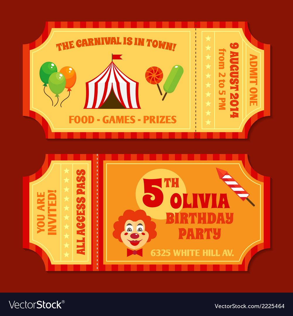 Circus tickets template vector | Price: 1 Credit (USD $1)