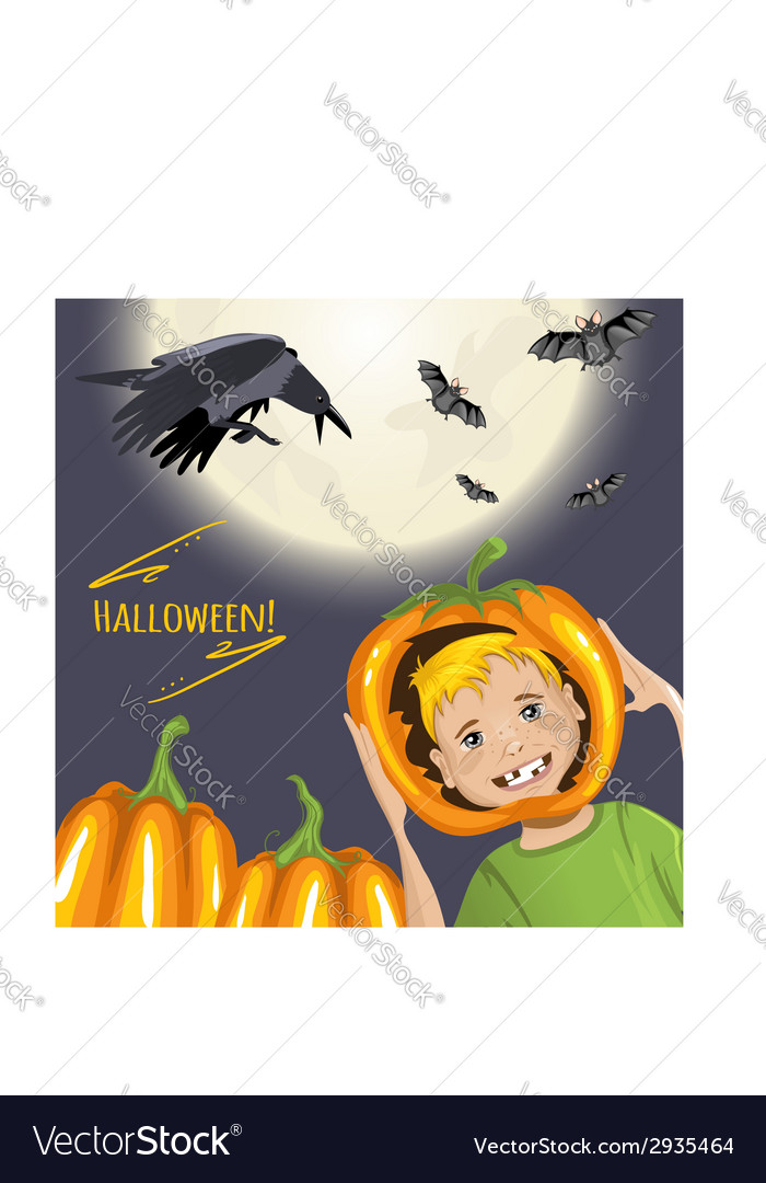 Cute card for halloween with cartoon boy pumpkins vector | Price: 1 Credit (USD $1)