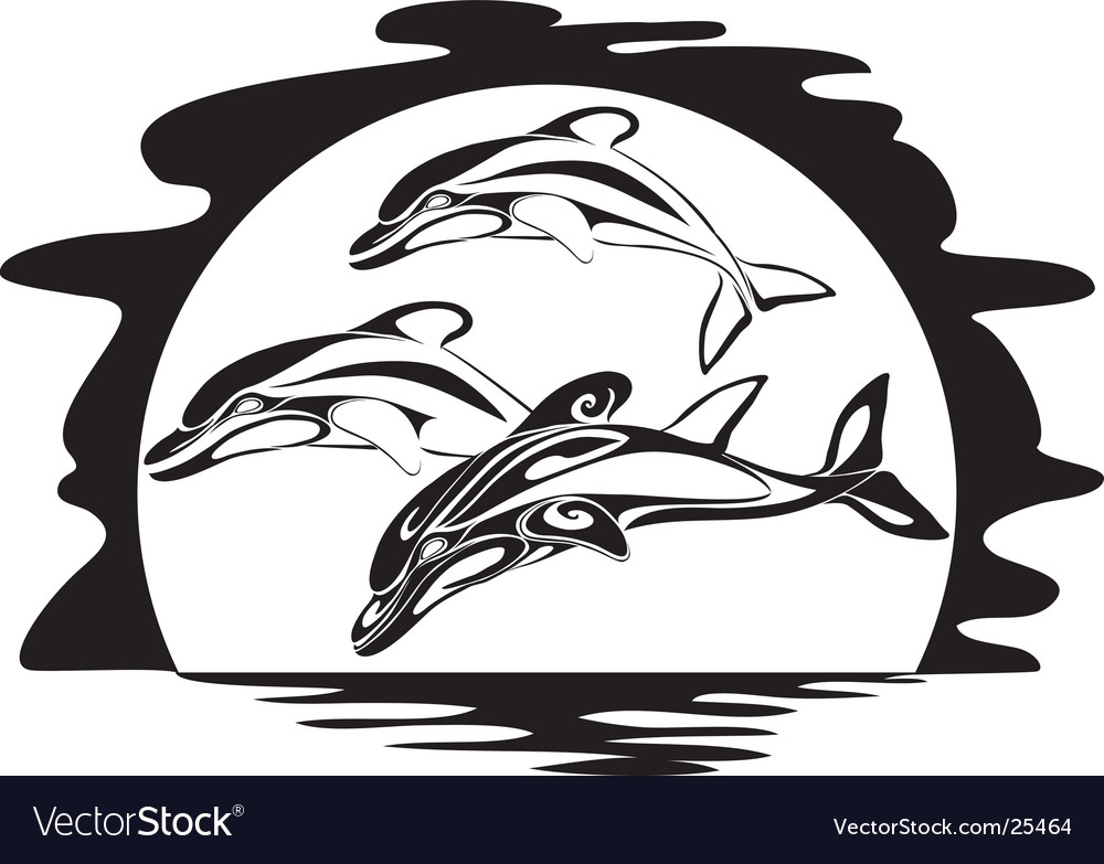 Dolphins a silhouette vector | Price: 1 Credit (USD $1)
