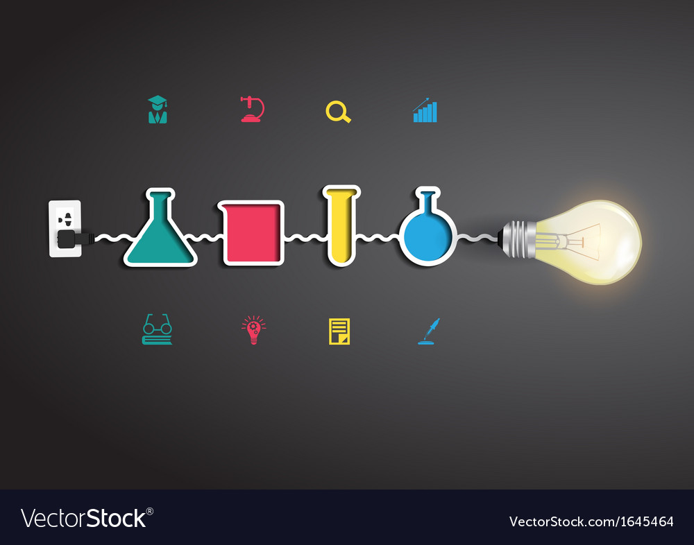 Light bulb idea with chemistry and science icon vector | Price: 1 Credit (USD $1)