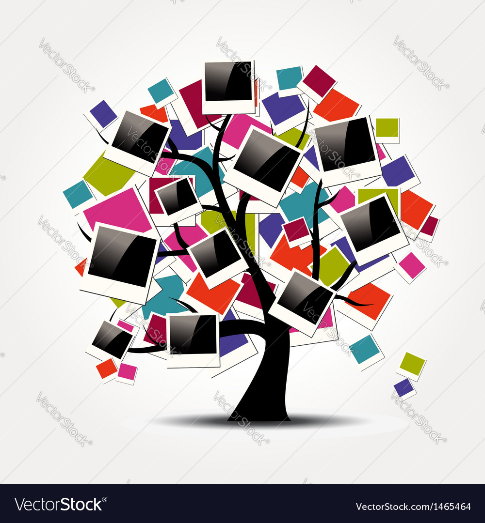 Memory family tree with polaroid photo frames vector | Price: 1 Credit (USD $1)