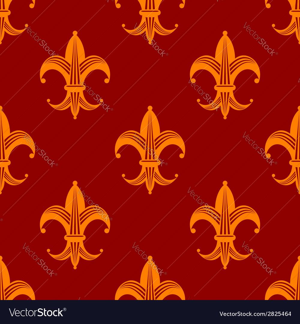 Seamless fleur de lys royal orange pattern vector | Price: 1 Credit (USD $1)