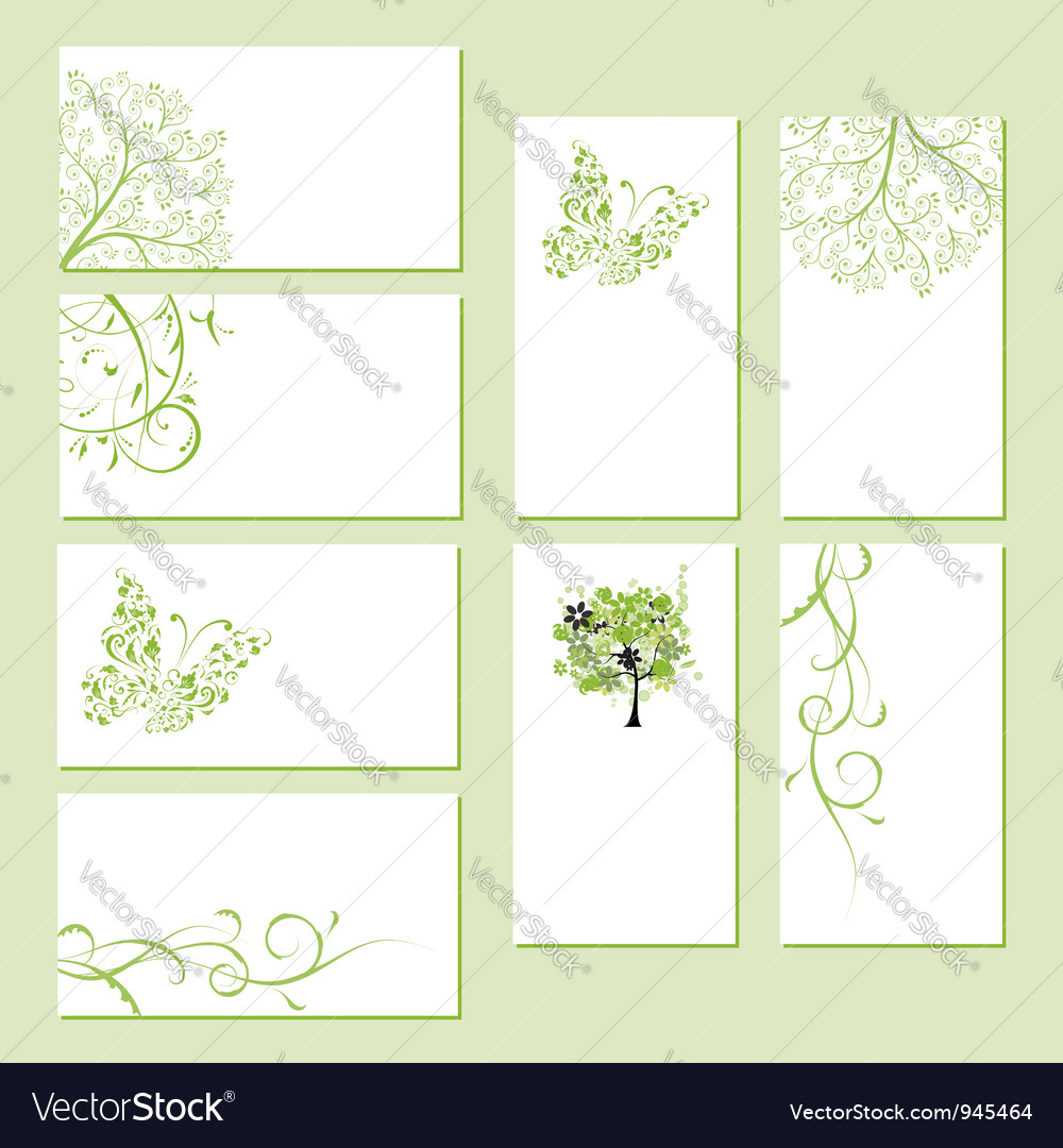 Set of business cards floral ornament vector | Price: 1 Credit (USD $1)