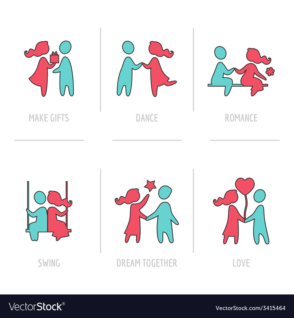 Valentines day flat icons- couple in love vector | Price: 1 Credit (USD $1)