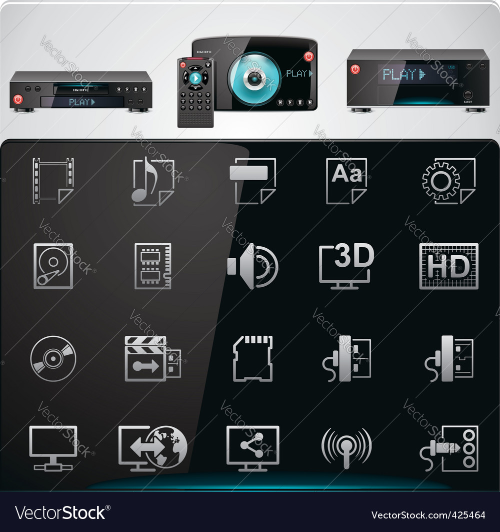 Video players features icons vector | Price: 3 Credit (USD $3)