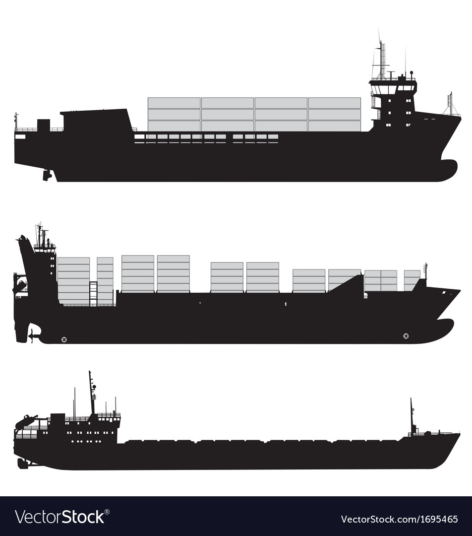 Cargo and container ship silhouettes vector | Price: 1 Credit (USD $1)