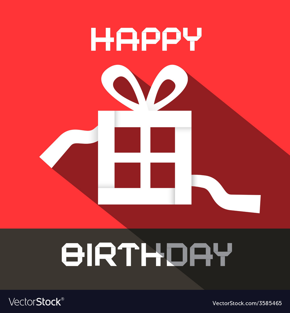 Happy birthday card with paper gift box vector | Price: 1 Credit (USD $1)