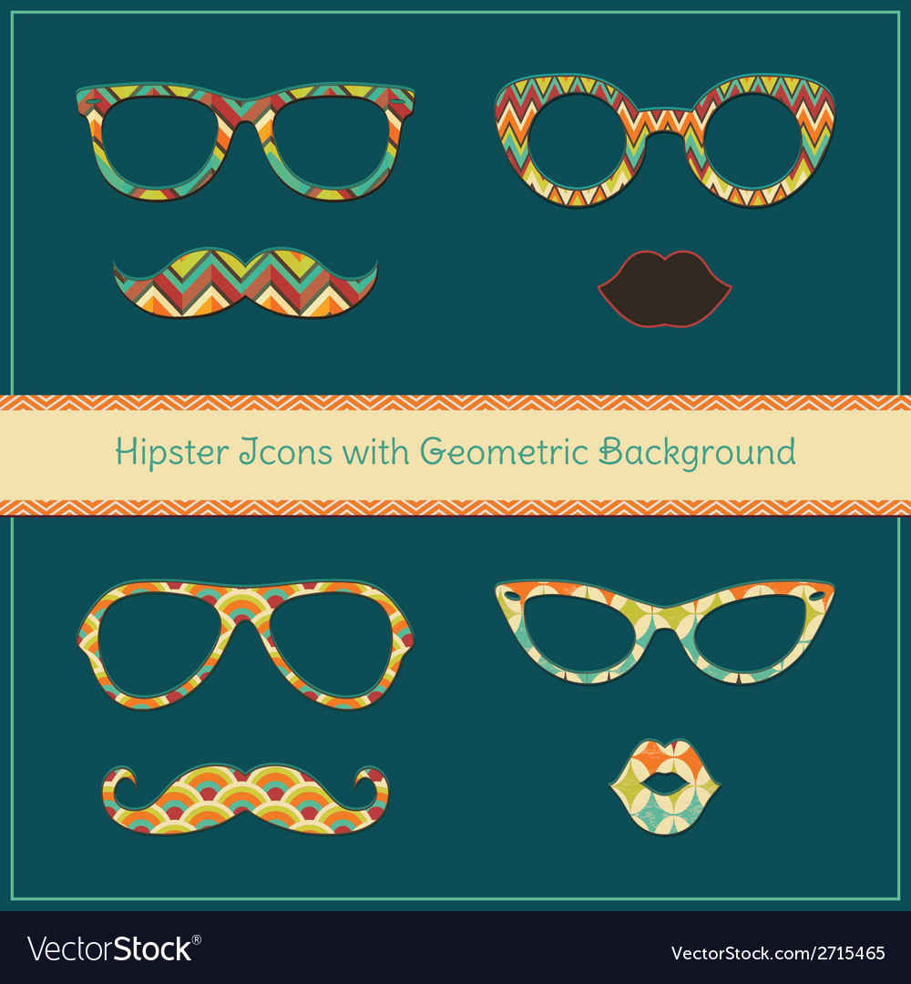 Hipster icons with geometric grunge background vector | Price: 1 Credit (USD $1)