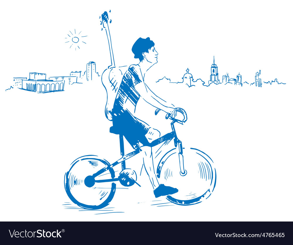 Musician with guitar rides a bicycle vector | Price: 1 Credit (USD $1)