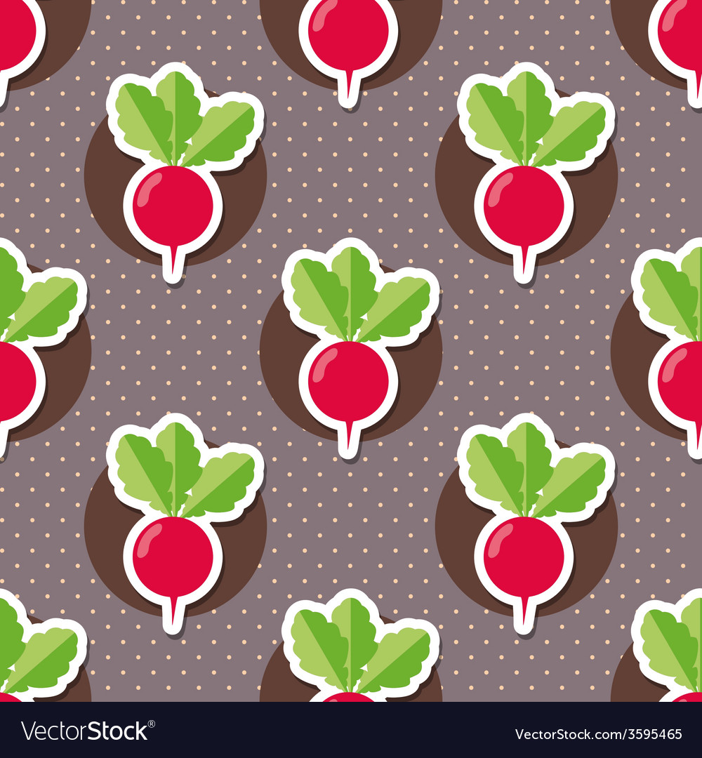 Radish pattern seamless texture with ripe radishes vector | Price: 1 Credit (USD $1)