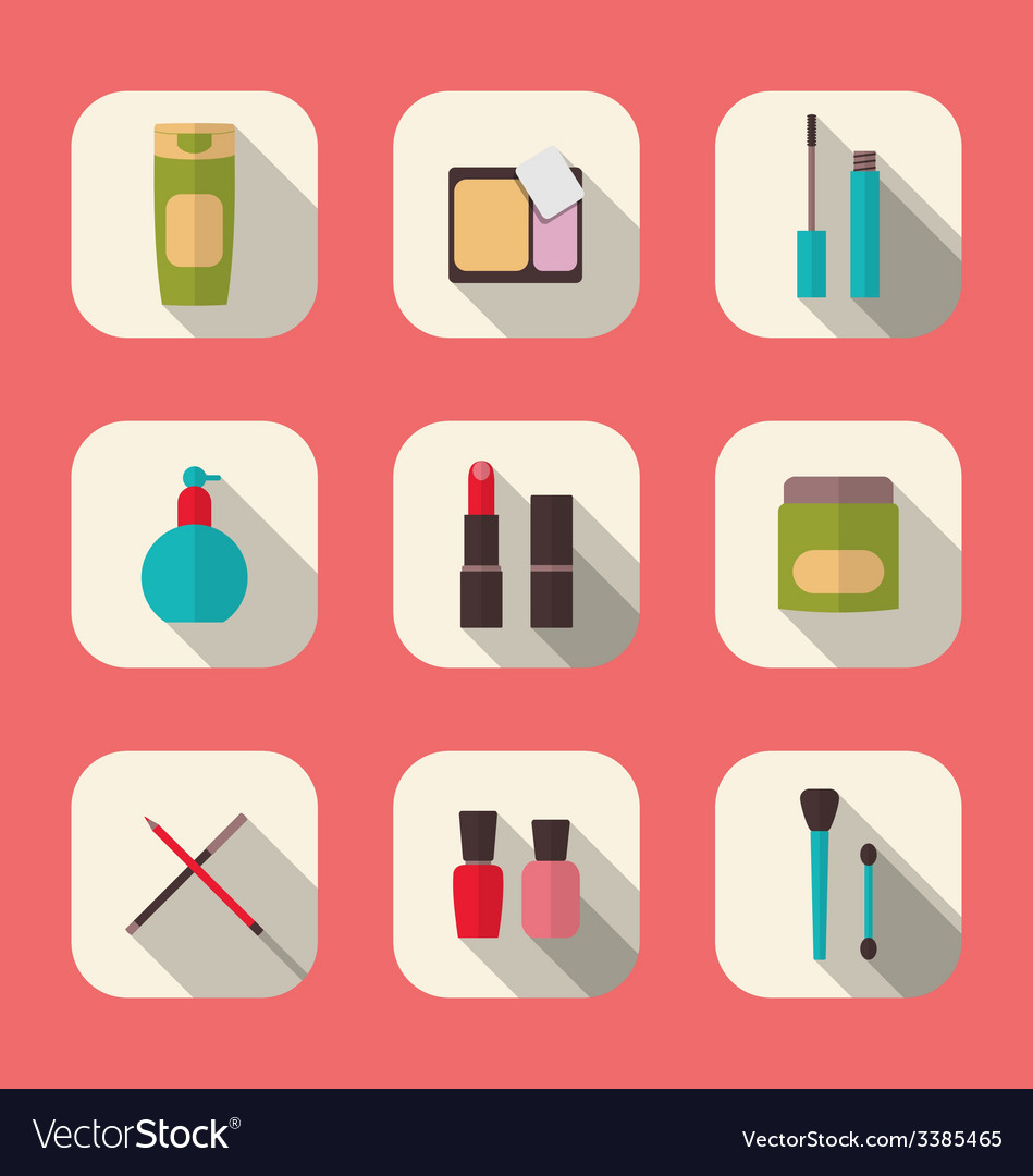 Set beauty and makeup icons with long shadow vector | Price: 1 Credit (USD $1)
