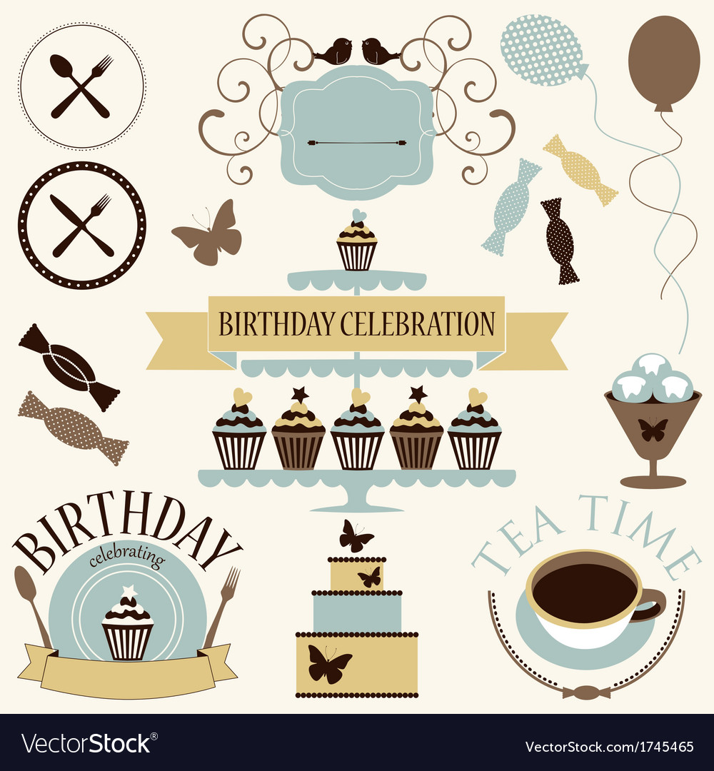 Set of celebration or holiday icons vector | Price: 1 Credit (USD $1)