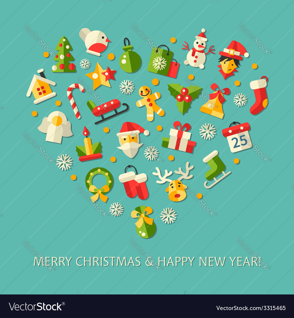 Set of christmas and happy new year flat design vector | Price: 1 Credit (USD $1)