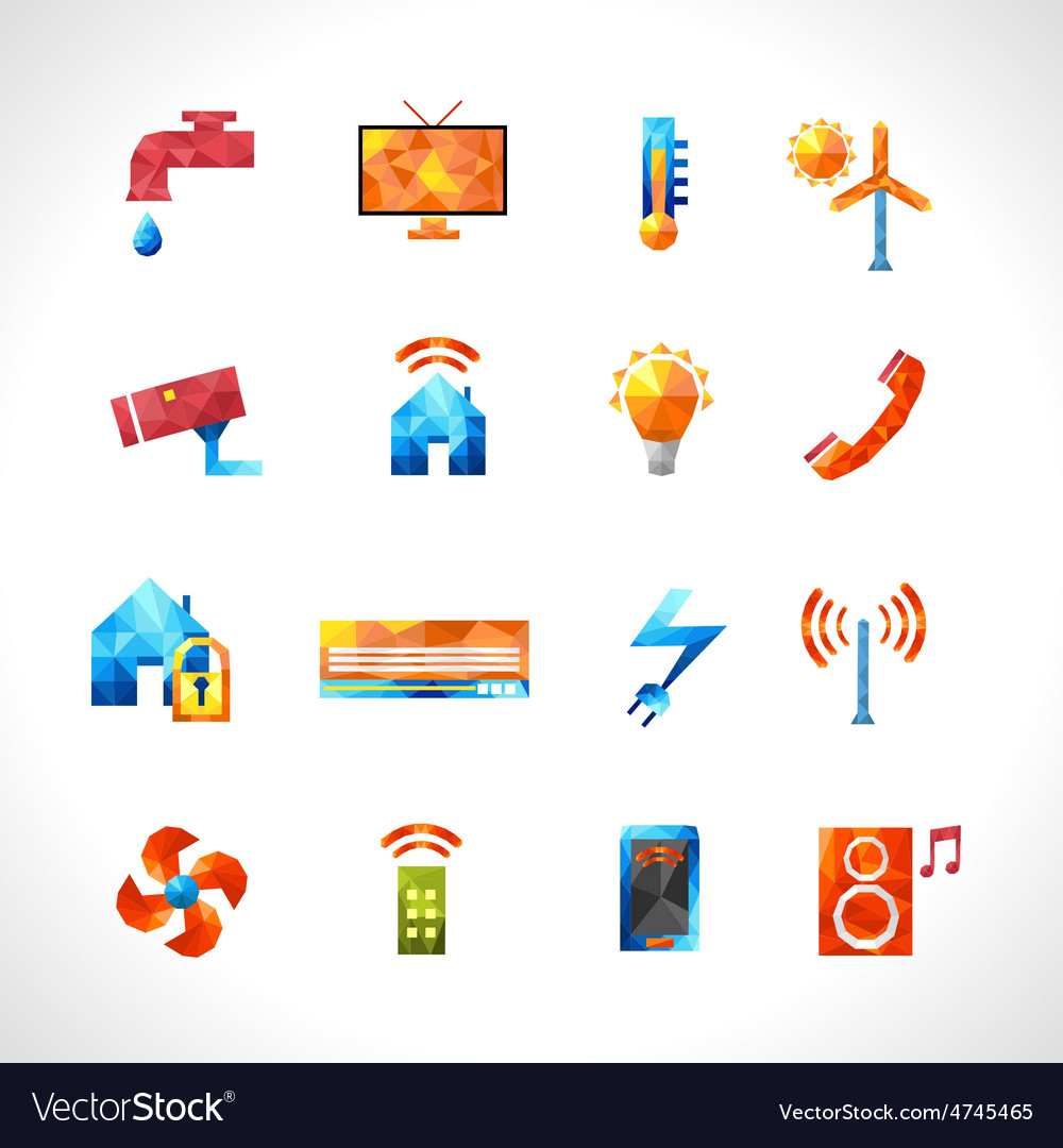 Smart house polygonal icons vector | Price: 1 Credit (USD $1)