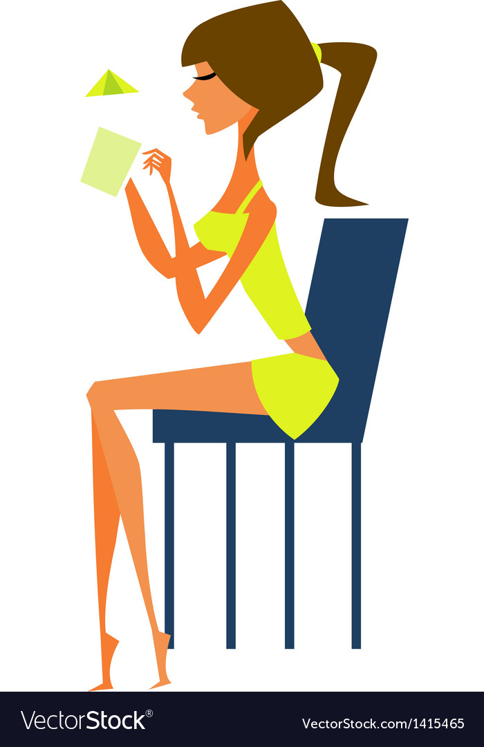 Woman sitting on chair vector | Price: 1 Credit (USD $1)