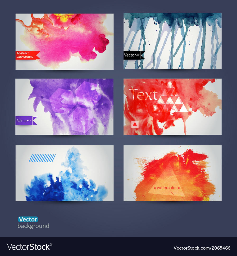 Abstract hand drawn set of six watercolor vector | Price: 1 Credit (USD $1)