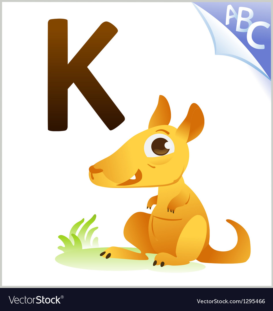 Animal alphabet for the kids k for the kangaroo vector | Price: 1 Credit (USD $1)