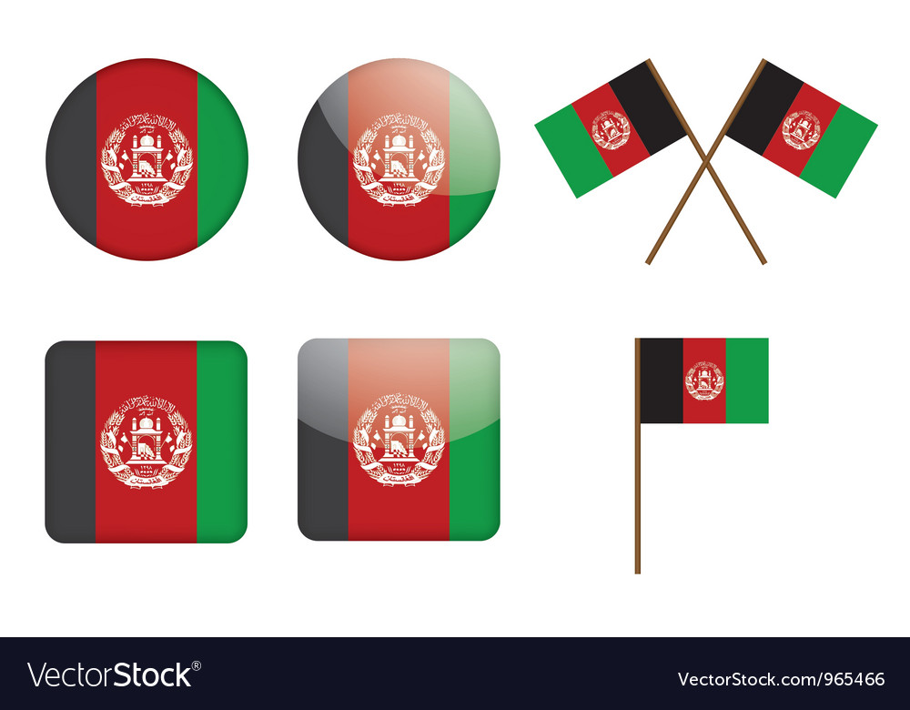 Badges with flag of afghanistan vector | Price: 1 Credit (USD $1)