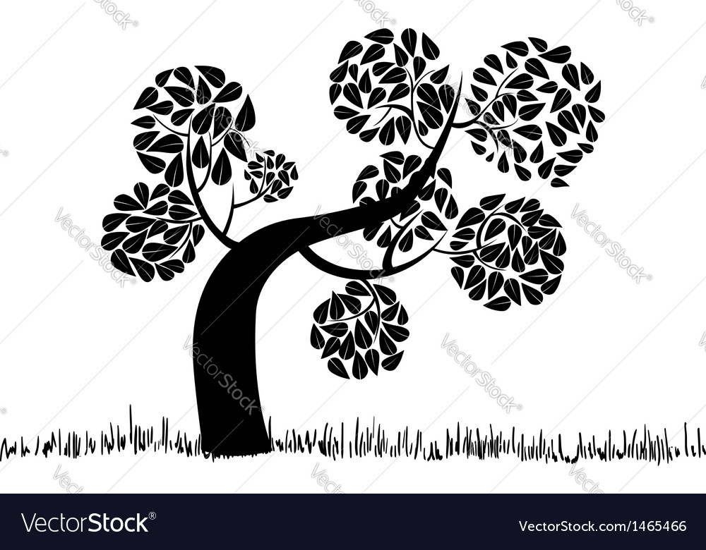 Big curly tree silhouette vector | Price: 1 Credit (USD $1)