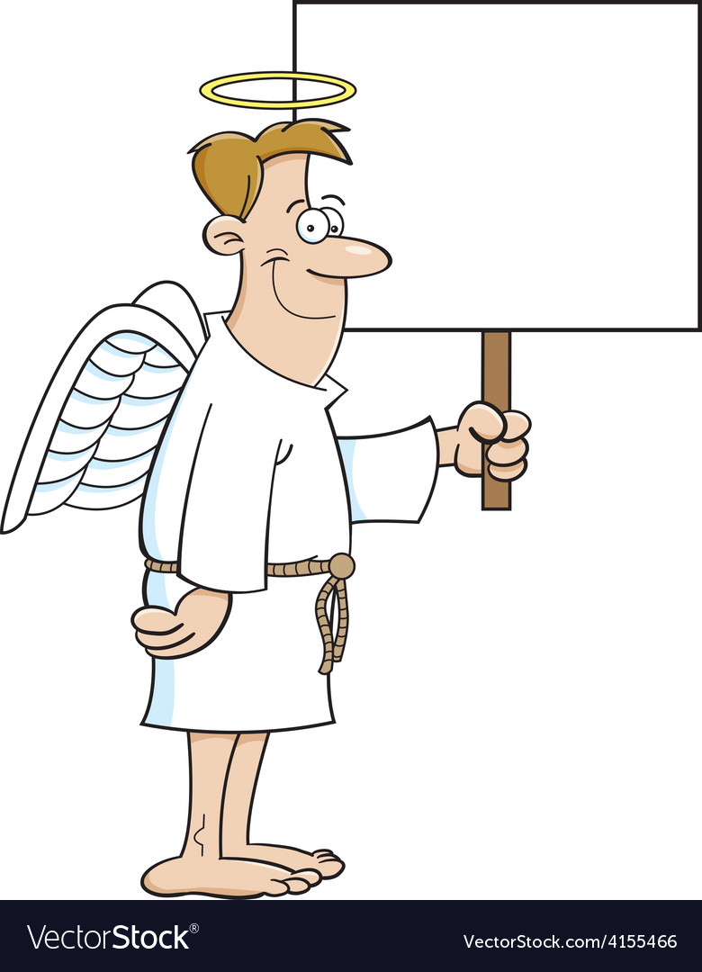 Cartoon male angel holding a sign vector | Price: 1 Credit (USD $1)