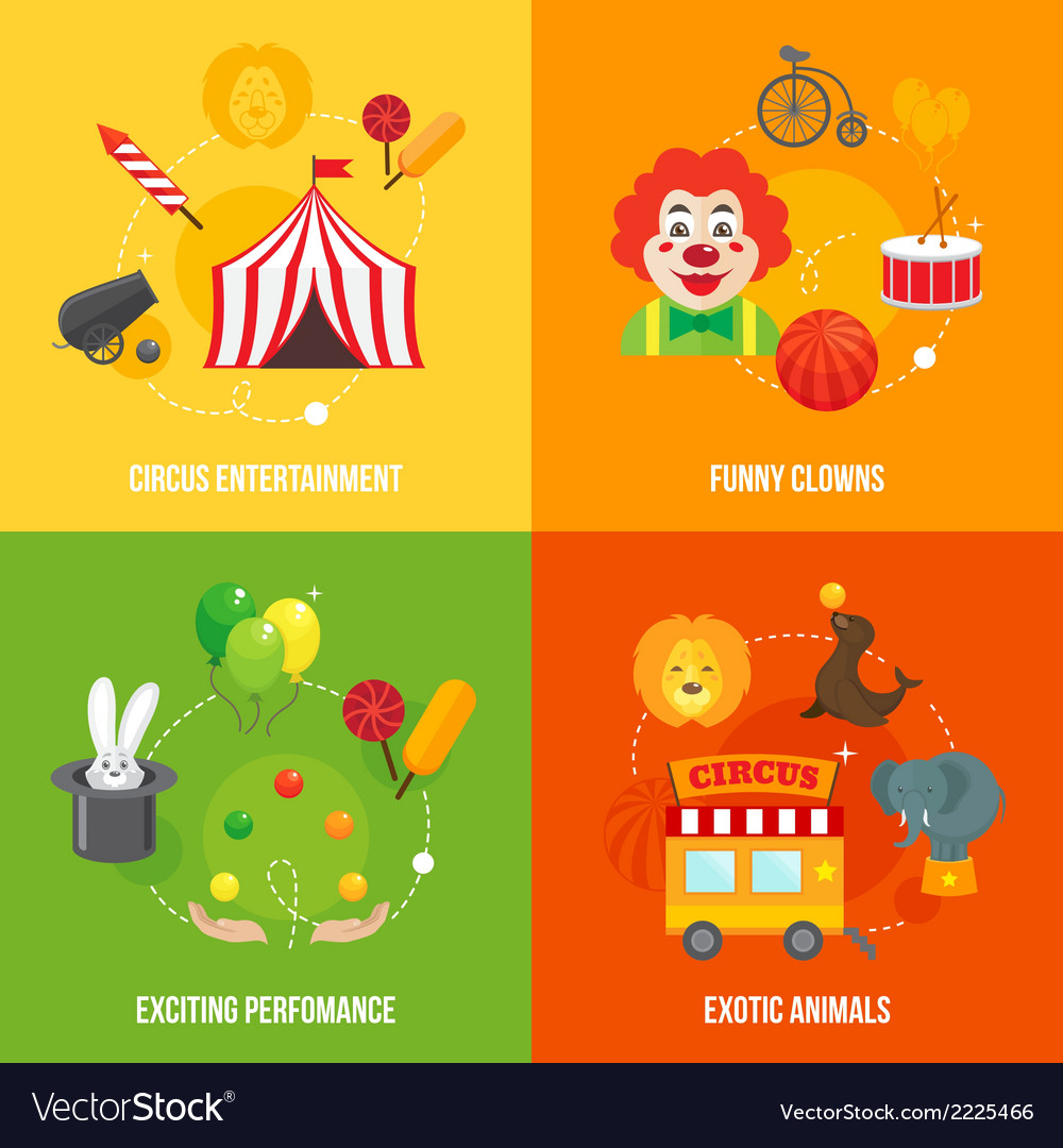 Circus retro icons composition vector | Price: 1 Credit (USD $1)
