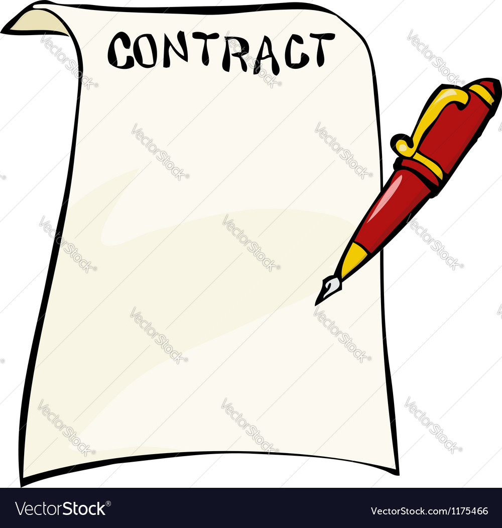 Contract with a pen vector | Price: 1 Credit (USD $1)
