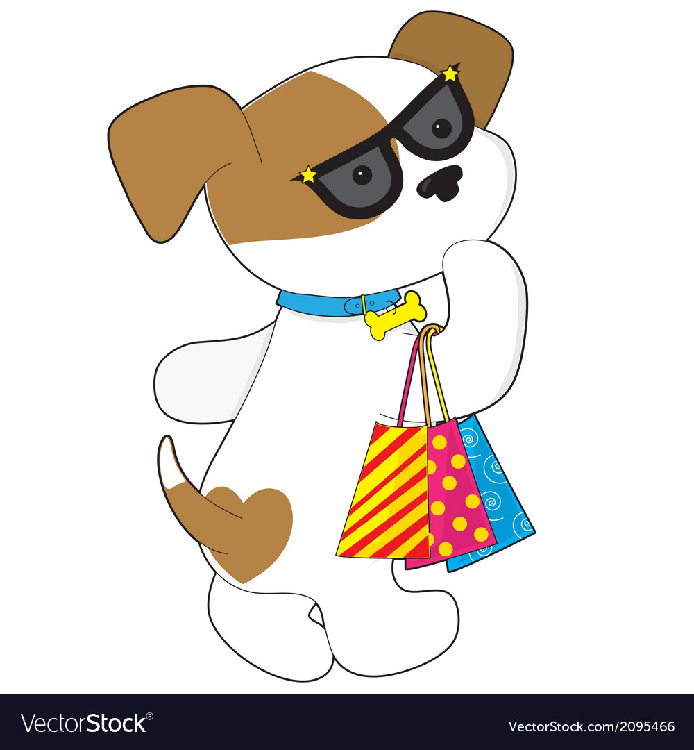 Cute puppy shopping vector | Price: 1 Credit (USD $1)