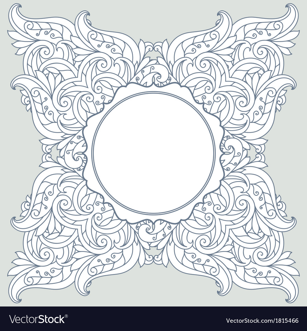 Floral background with frame vector | Price: 1 Credit (USD $1)